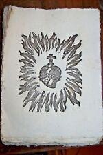 SACRO CUORE di GESU' Antica Stampa con fiamme SANTINO Ex VOTO filigranata grande