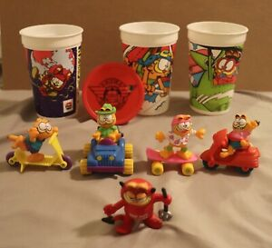 1988 McDonalds GARFIELD set + 3 1993 Pizza Hut Cups + Red Hot Lover