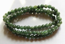 100% Natural Untreated Beautiful Oily Green JADE Bead Necklace 20 Inches #N048