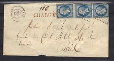 NAPOLEON N°14 B x 3 Obli Chargé  cachet de cire 1861 LETTRE COVER le havre paris