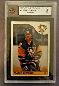 1985 OPC O PEE CHEE Mario Lemieux Rookie Card Graded KSA 2 GOOD Penguins