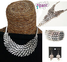 FEATHER NECKLACE , EARRING , BRACELET , CHUNKY DESIGN FEATHERS LEAF NICKLE FREE