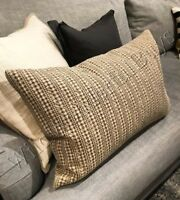 Pottery Barn Honeycomb Lumbar Pillow Cover Dark Mocha 16x26 Farmhouse New