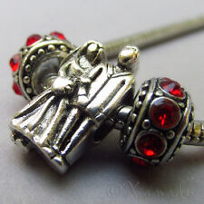 Bride And Groom European Charm Bead And Birthstone Spacers - Engagement Gift