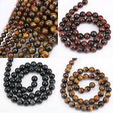 """15.5"""" Natural Tiger Eye Gemstone Stone Round Loose Spacer Beads Jewelry Findings"""