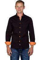 Ugholin Chemise Homme Coton Stretch Slim Fit Marron/Orange Manches Longues