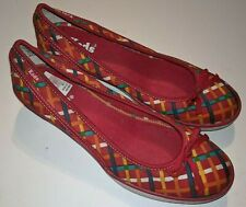KEDS Women's Multi Color Red Wedge Shoes Bow 7.5 M
