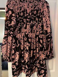 Nasty Gal Pink & Black Print Dress Size 14