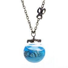 Vintage Style Aqua Sea Gems Bottle Round Seashell Bottle Pendant Necklace N526
