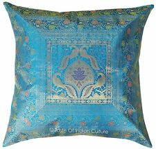 "X-Large 26"" Turquoise Blue Cushion Cover Brocade Floor Pillow Throw Indian Decor"