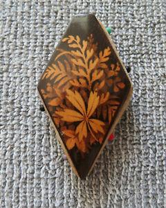Antique Victorian Mauchline Diamond-shaped Pinwheel Pincushion Fernware
