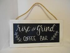Coffee Wall Decor Rise and Grind Coffee Bar Black and White Not a Blackboard