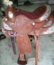 """silver fitting western pleasure show leather horse saddle size 14""""15""""16""""17""""18"""""""