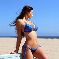 Womens Bikini Set Sequin Push-up Swimsuit Side Tie Swimwear Summer Bathing Suit