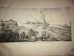 ALGÉRIE. ÉTABLISSEMENT FRANÇAIS DE LA CALLE INCENDIÉ et DÉTRUITLithographie 1830