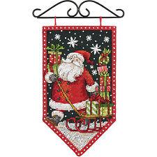 New listing Cross Stitch Kit ~ Debbie Mumm Christmas Santa Winter Mini Banner #72-74136