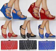 Para mujeres Diamante Fiesta Nupcial Cuña Bloque Talón Sandalias + Bolsa a Juego Court Shoe