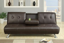 Espresso Faux Leather Couch Adjustable Sofa Console Living Room Furniture Modern