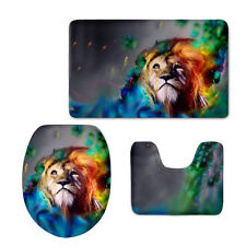 3 Piece Bath Rug Set Lion Pattern Bathroom Rug and Contour Mat with Lid Cover