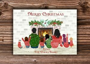 Personalised Christmas Family A5/A6 High Gloss Card OR A4 Print