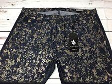 ROCAWEAR Men's Jeans Black Denim With Metallic Gold Splash Size 42/32