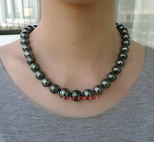 """AAAAA 17""""12-14mm round Natural REAL south sea black pearl necklace 14K GOLD"""