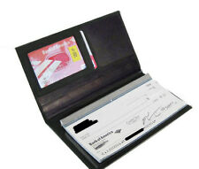 Black Genuine Leather Solid Checkbook Cover Organizer Credit Card ID Wallet 901
