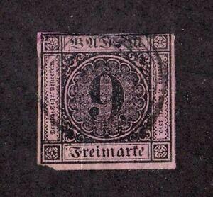 Baden stamp #4a, used, German State, imperf, SCV $160.00