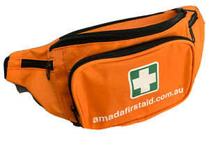 Emergency First Aid Bum Bag Kit Medical Childcare Travel Family Safety Orange