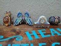 Jewelry Trinket Boxes Lot Jewelry box beetle clock butterfly flowers mud pie