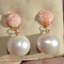 GORGEOUS 14K ANGEL SKIN ROSE CORAL W 11MM CHAMPAG PEARL DROP EARRINGS  JACKETS