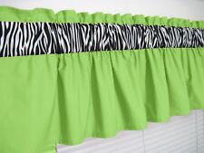 3 inch wide rod pocket ~ Lime Green and Zebra Valance Window Curtain Topper