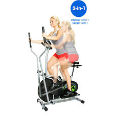 Dual Cardio Trainer Exercise Bike Elliptical Fitness Machine Indoor Workout Gym