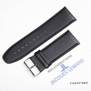 Original Jacques Lemans 28mm black leather watch band for 1-1303A model