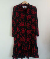 Italian Vintage Floral Dress Liz Roberts Size 12 - Very Good Condition