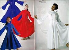 NWT Praise Dress Church Dance Bellsleeve dress Goldpiping trim ch/ladies 4 colrs