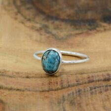 Blue Copper Turquoise Ring 925 Sterling Silver ring blue Gemstone ring EE-162