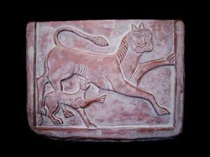 ANCIENT TERRACOTTA VOTIVE PLATE DEPICTING TWO LIONS, REPLICA!!!
