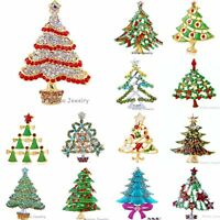 Fashion Christmas Tree Green Crystal Rhinestone Brooch Pin Women Xmas Gift Party