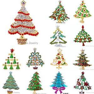 Fashion Christmas Tree Green Crystal Rhinestone Brooch Pin Women Xmas Gift Party