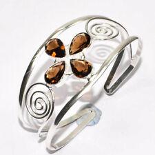 Smoky Topaz Gemstone 925 Silver Jewelry Adjustable Cuff