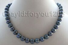 "18"" Genuine Natural 12mm Round Black Pearl Necklace 925silver clasp #f1818!"