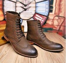 NEW Man Brown Handmade Ankle High Leather Lace Up Boots, Leather Shoes-ALL SIZES