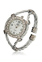 PF cussi Steel Wire Crystal Quartz Bracelet Bangle Wrist Watch White+Sliver