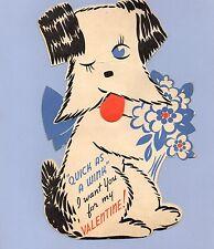 LG Vintage Valentine's Day Card VALENTINE Dog Terrier MECHANICAL Quick As A Wink
