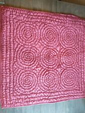 """2 Pottery Barn """"Channel-Stitch"""" Silk Red Quilted Euro Shams"""