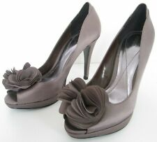 NEW MONSOON SIZE 3 WOMENS  BRONZE BROWN SATIN PEEPTOES SLIP ON COURT SHOES HEELS