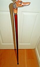 Carved Wood Whippet Greyhound Handle Walking Stick Elegant Wood Cane Brown Shaft