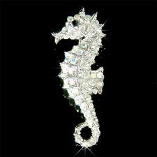 w Swarovski Crystal Sea Horse ~SEAHORSE~ Brooch BEACH WEDDING Bridal Jewelry New