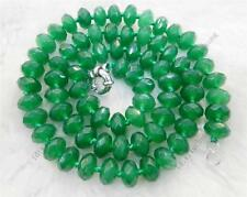 "Beautiful Green 5x8mm Emerald Faceted Roundel Beads Necklace 18"" AA YL77"